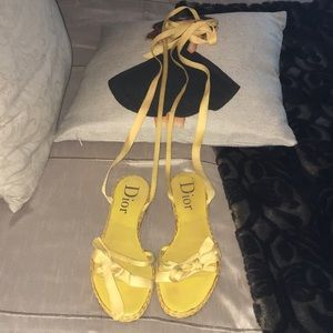 Dior Yellow Wrap Around Sandals